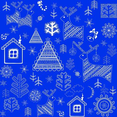 wrapper: Blue winter retro wrapper Illustration