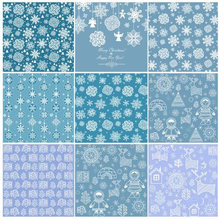 christmas paper: Blue winter wallpapers. Set