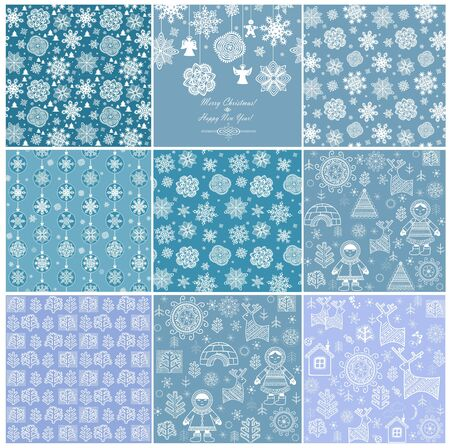 Blue winter wallpapers. Set