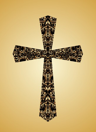 cross tattoo: Christian vintage Cross with floral pattern
