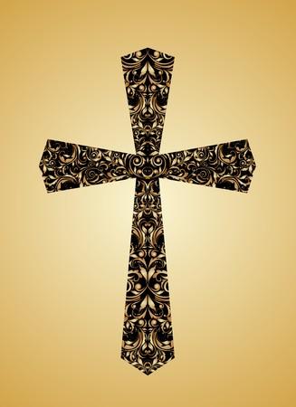 Cruz cristiana de la vendimia con motivos florales