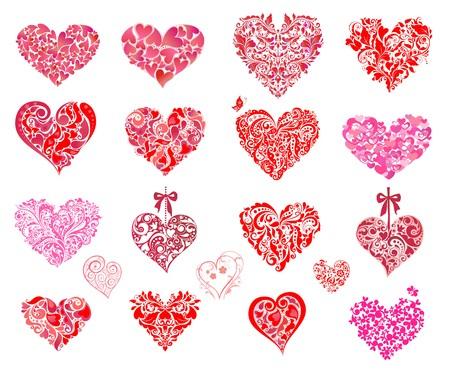Rosa und roten Herzen. Set
