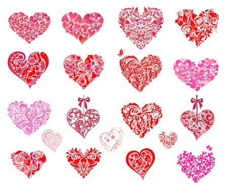 Pink and red hearts. Set Illustration