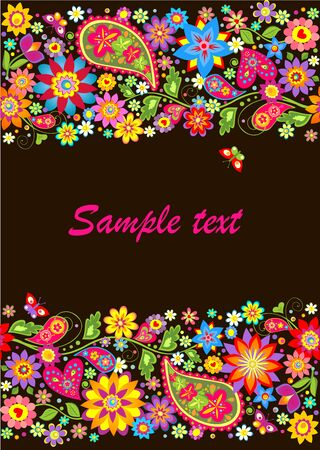 paisley seamless pattern: Vintage seamless floral border with paisley