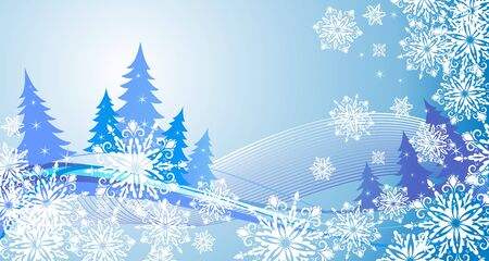 conifers: Winter banner with snowflakes and blue conifers