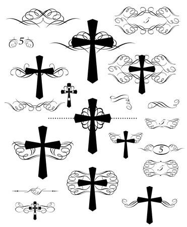 Diseño caligráfico con cruces cristianas y reglas de página