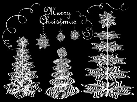 conifers: Christmas paper conifers Illustration