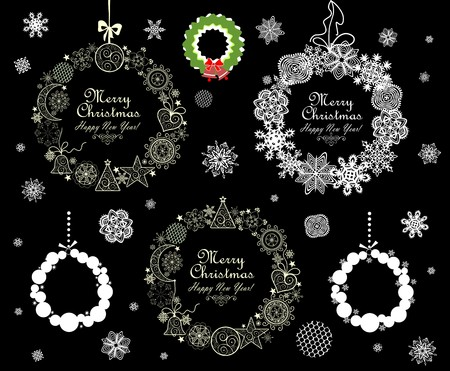 hanging out: Collection of Christmas decorative wreath Illustration
