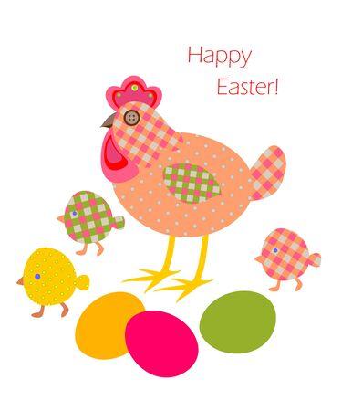 gallina con huevos: apliques de Pascua divertido con la gallina, huevos y pollo Vectores