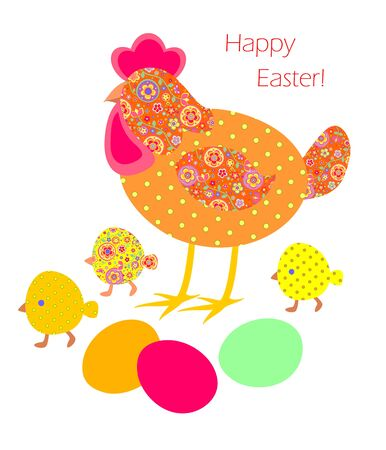 pasch: Funny easter applique with hen, painted eggs and chicken