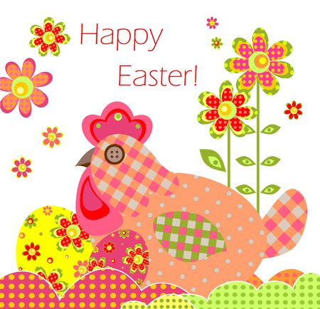 applique flower: Greeting card with easter applique