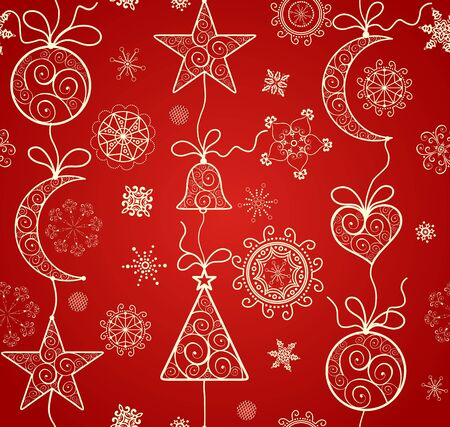 red wallpaper: Red wallpaper for winter holiday with hanging golden baubles