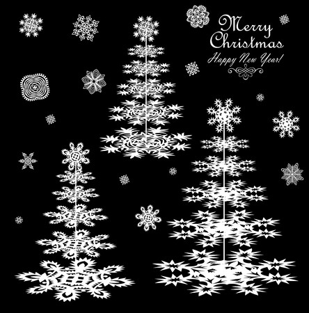 conifers: Paper conifers and snowflakes for winter design