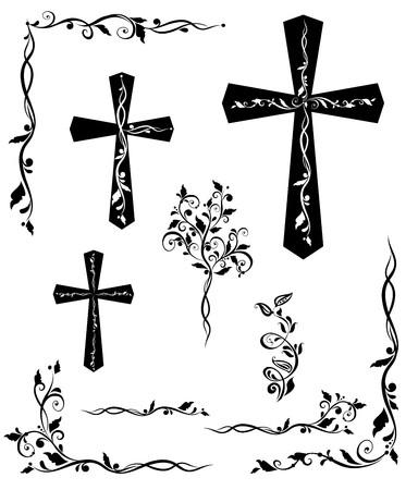 Conjunto de cruz grabado con motivos florales Ilustración de vector