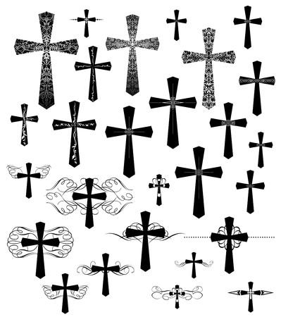 kruzifix: Set von Vintage-Gravur Kreuze mit Schnörkel Illustration