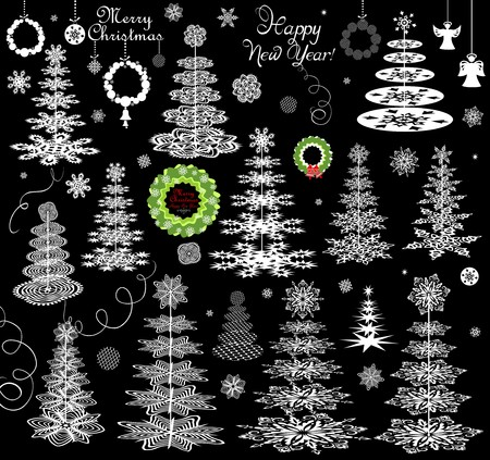 conifers: Set of xmas paper snowflakes, conifers and hanging wreath