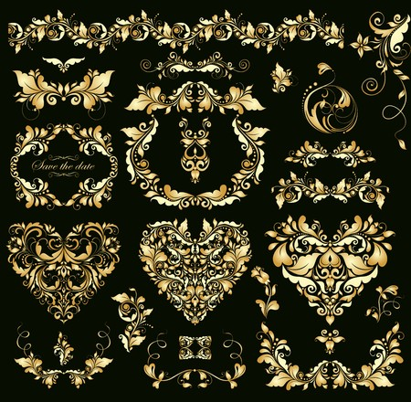 gold ornaments: Floral vintage golden design with heart shapes for wedding invitations Illustration