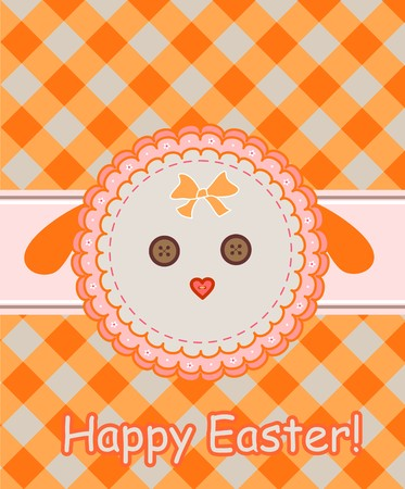 paschal lamb: Napkin with dolly sheep for easter greeting Illustration