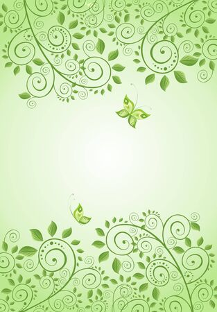 green butterfly: Spring green decorative floral banner Illustration