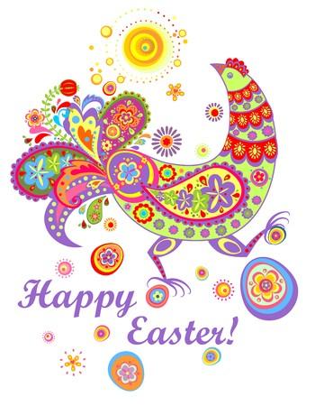 Tarjeta de Pascua con la gallina decorativa divertida