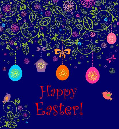 Easter card with hanging eggs, birdhouse and little birds Illustration