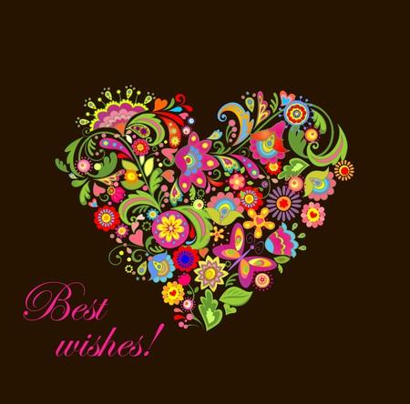 corazon: La forma del corazón con las flores decorativas Vectores