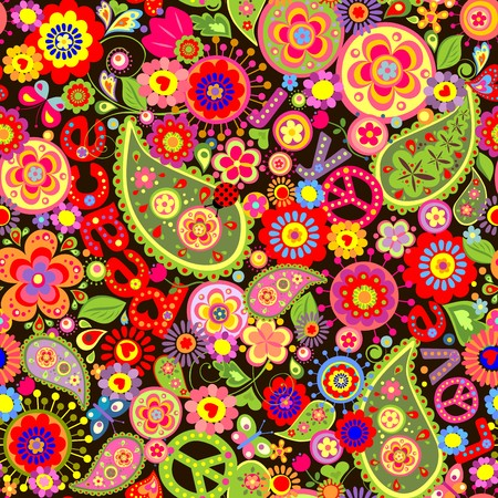 Hippie wallpaper with colorful flower print  イラスト・ベクター素材