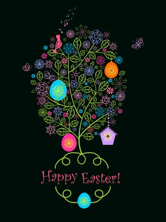 Beautiful easter greeting card with blossoming decorative tree Illustration