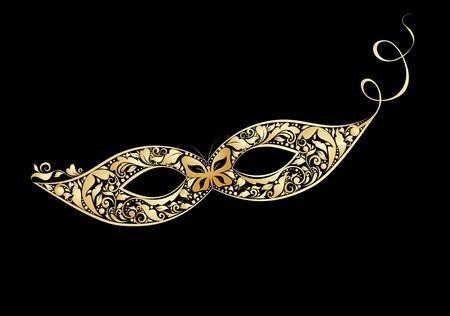 Carnival vintage mask with golden floral pattern Illustration