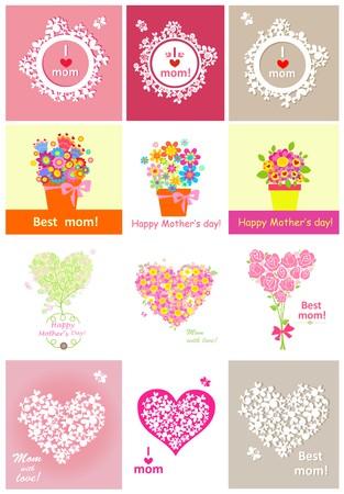 Colección de tarjetas de felicitación para el día de las madres