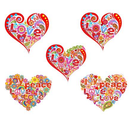 flowerpower: Set of heart shape for hippie design print