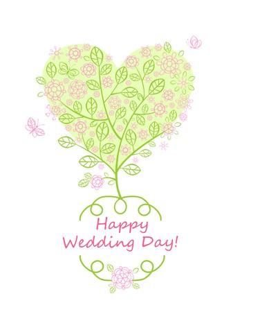 Schöne Grußkarte für Hochzeit, Einladung mit blühenden Baum