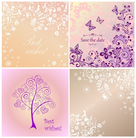 birds in tree: Beautiful wedding cards Illustration