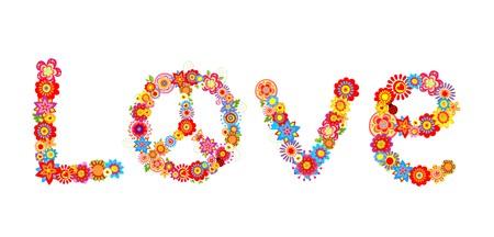 Hippie flowers love lettering