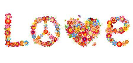 L'amour lettrage. Hippie impression avec des fleurs colorées