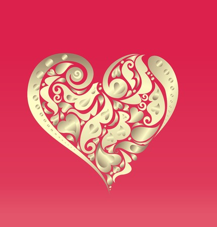 gold heart: Card with abstract gold heart shape Illustration