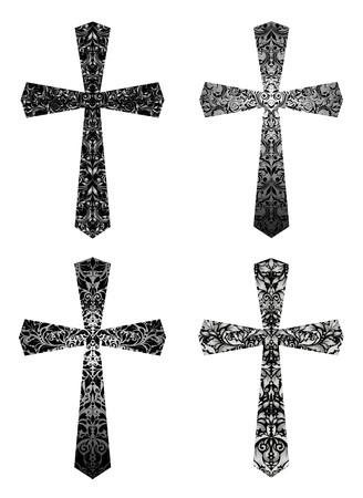 Conjunto de cruces góticas de la vendimia con el modelo floral Ilustración de vector