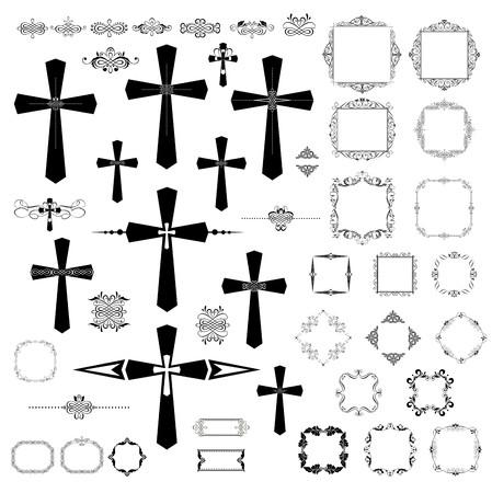 cristianismo: Diseño de la vendimia con cruces góticas y marcos retro Vectores
