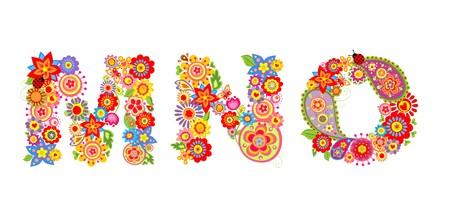floral alphabet: Floral alphabet with letter M, N, O Illustration