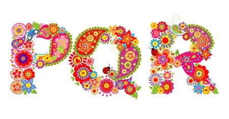 Floral abstract alphabet with letter P, Q, R Illustration