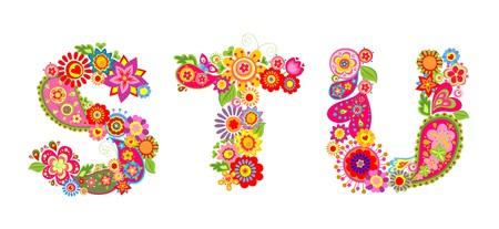 Bloemen abstract alfabet met brief S, T, U Vector Illustratie