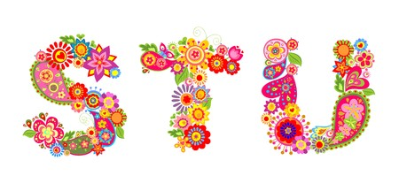 Floral abstract alphabet with letter S, T, U Illustration