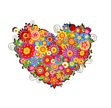 Tarjeta de felicitación con forma de corazón floral