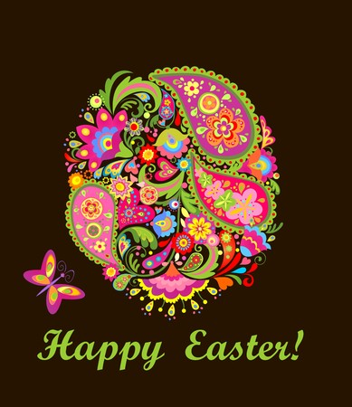 Easter card with decorative colorful floral egg