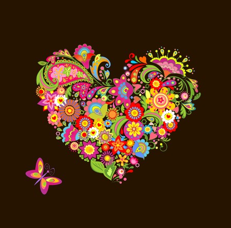 Heart shape with decorative flowers and butterfly