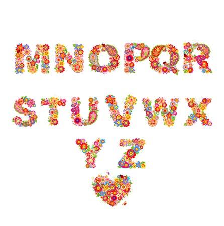 floral alphabet: Floral alphabet with funny colorful flowers. Part 2 Illustration