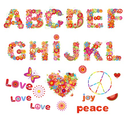 flowerpower: Hippy floral alphabet with funny colorful flowers. Part 1 Illustration
