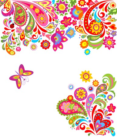 flower power: Floral background with colorful abstract flowers