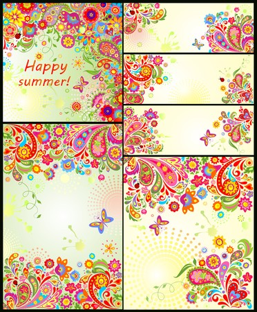 summery: Set of colorful summery floral decorative templates