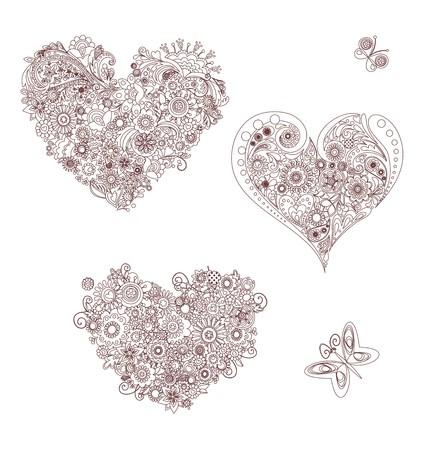 Silhouette di forme di cuore floreali